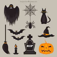 scary halloween elements vector free download