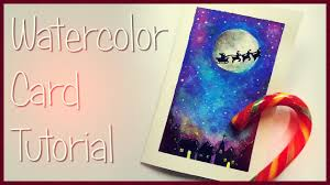 diy christmas card with watercolors biglietto natalizio ad