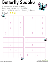 butterfly sudoku worksheets butterflies and insects