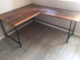 Desk In Corner Enthralling L Desk Corner Reclaimed Wood Steel Pipe Base