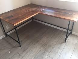 L Corner Desk Enthralling L Desk Corner Reclaimed Wood Steel Pipe Base