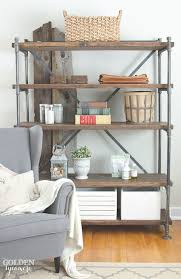 Free Standing Wooden Shelving Plans by Industrial Pipe Shelving Unit The Golden Sycamore