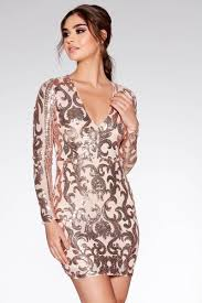 sequin dress and gold sequin v neck sleeved dress quiz clothing