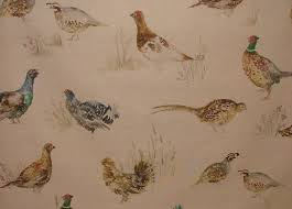 Upholstery Fabric With Birds Voyage Decoration Game Birds Linen Designer Upholstery Fabric