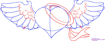 hearts with wings drawings