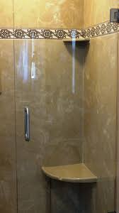 heavy glass shower doors just installed beautiful tuscan sand walls with rieti listello