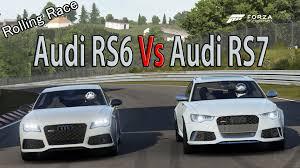 audi rs6 vs forza motorsport 6 drag race audi rs6 vs audi rs7