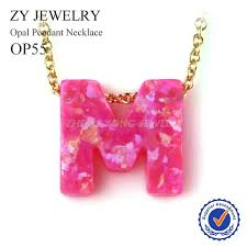 pink opal necklace images Hot sale op55 pink opal m letter pendant necklace gold color chain jpg