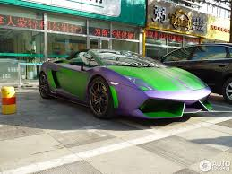 Green Lamborghini Aventador - matte purple and green lamborghini gallardo spyder performante in