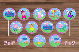 peppa pig cupcakes peppa pig cupcake toppers peppa pig party by magianrainbow on zibbet