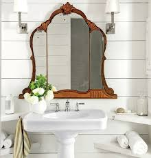 mirror for bathroom ideas classy brown finish varnished wooden