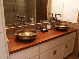 wood double vanity tops and round brass vessel sinks plus white