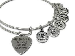 grandchildren blessings grandkids initital charm bracelet