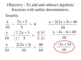 dividing fractions with unlike denominators elementary algebra 1