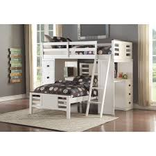 florrie twin loft bed with desk in white and espresso by acme