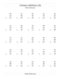 two digit addition worksheets without regrouping regrouping