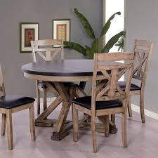 elements international laramie two tone round dining table