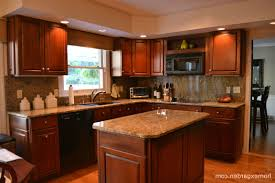Home Wood Kitchen Design by Cherry Wood Kitchen Cabinets With Black Granite Grey Metal Gas