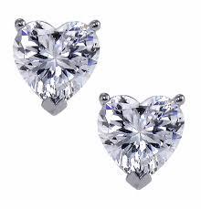 heart shaped diamond earrings heart shape diamond look cubic zirconia stud earrings sweepstakes