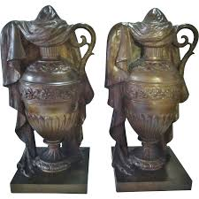 funeral urns for sale antique cremation urns 19th century pair of solid bronze draped