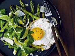 asparagus thanksgiving grilled asparagus salad with fried eggs recipe mark broadbent