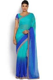 peacock blue and royal blue chiffon ombre saree sevt sr 18016