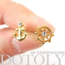 anchor earrings dotoly plus small anchor and wheel nautical stud earrings in