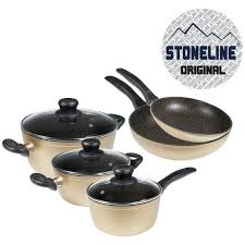 batterie de cuisine en stoneline stoneline set de 8 pieces en gold achat vente batterie
