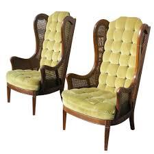 Velvet Wingback Chair Design Ideas Pair Vintage Lewittes Velvet Wingback Chairs Wingback