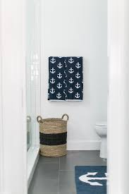 Restoration Hardware Bath Mats Blue Nautical Bathroom With Anchor Bath Mat Cottage Bathroom