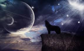 design a wolf howling at the moon in photoshop