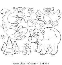 forest animals clipart color pages