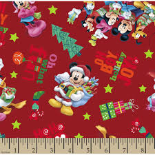 christmas mickey and friends ho ho joy cotton fabric by the yard