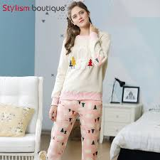 Sweater Pajamas Two Pajamas Set Sleeve Sleepwear Thick Sweater