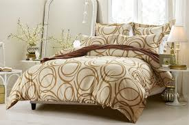 Cherry Duvet Cover 6pc Circle Design Beige Bedding Set Includes Comforter And Duvet