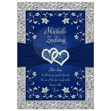 blue and silver wedding wedding invitation navy blue silver joined hearts floral