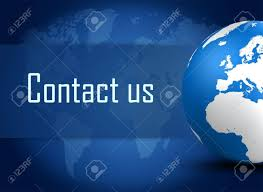 us map globe contact us concept with globe on blue world map background stock