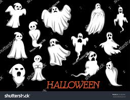 halloween raven background black and white white flying halloween monsters ghosts isolated stock vector