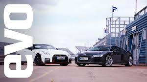 nissan gtr youtube review audi r8 v nissan gt r nismo evo track review youtube