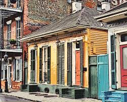 shotgun house digital comic drawing of a french quarter orange shotgun house in