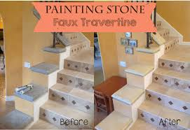 the ragged wren painting stone faux travertine