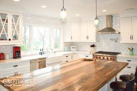 Farmhouse Kitchen Islands Reclaimed Chestnut Kitchen Island Counter In Sea Cliff Ny
