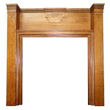 antique art deco oak wood mantel fireplace surround
