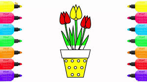 coloring pages potted plants how to draw tulip flowers art