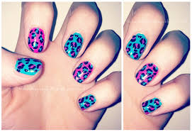 handbags and gladrags nail pink blue leopard print nails
