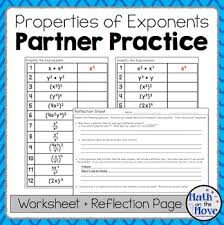 exponents partner practice and reflection worksheets 8 ee 1 tpt