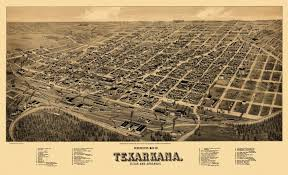 Old Texas Map Old Map Of Texarkana Texas 1888 Bowie County Poster Texarkana