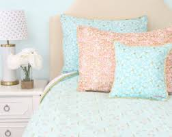 Coral And Gold Bedding Queen Bedding Etsy