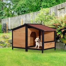 aosom pawhut small elevated dog house with opening roof pets