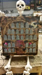 Lighted Halloween Advent Calendar Cemetery Wood Tombstones